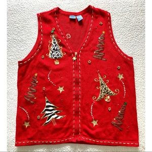 Christmas Holiday Sweater Vest with Zipper